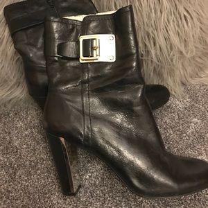 Black NINE WEST mirror heeled boot